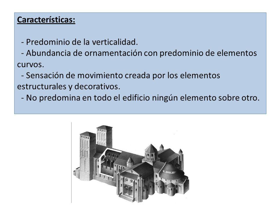 Características: - Predominio de la verticalidad. - Abundancia de ornamentación con predominio de elementos curvos. - Sensación de movimiento creada p
