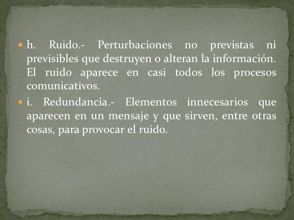 h. Ruido.- Perturbaciones no previstas ni previsibles que destruyen o alteran la información. El ruido aparece en casi todos los procesos comunicativo