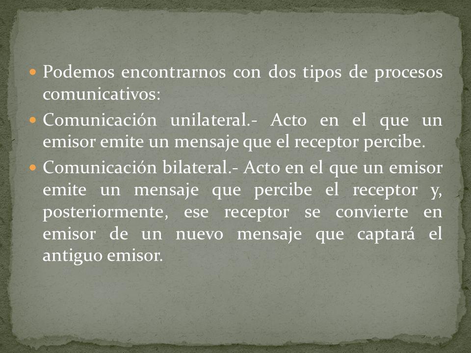 Podemos encontrarnos con dos tipos de procesos comunicativos: Comunicación unilateral.- Acto en el que un emisor emite un mensaje que el receptor perc