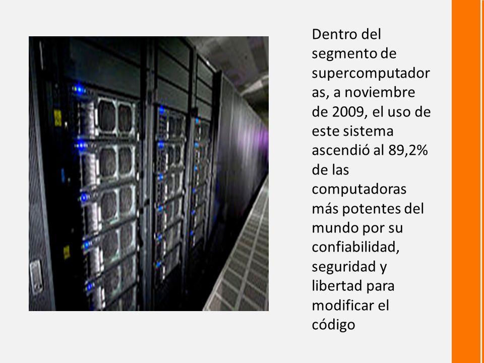 Dentro del segmento de supercomputador as, a noviembre de 2009, el uso de este sistema ascendió al 89,2% de las computadoras más potentes del mundo por su confiabilidad, seguridad y libertad para modificar el código