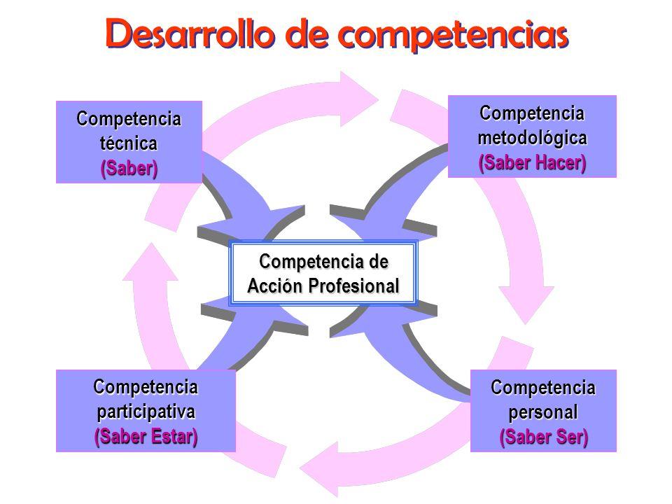 Competencia de Acción Profesional Competencia de Acción Profesional Competencia técnica Competencia técnica (Saber) Competencia metodológica Competenc