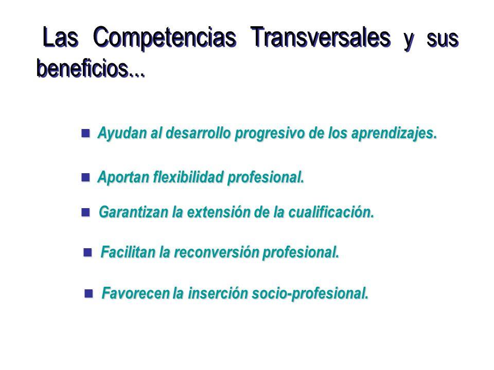Las Competencias Transversales y sus beneficios... Ayudan al desarrollo progresivo de los aprendizajes. Ayudan al desarrollo progresivo de los aprendi
