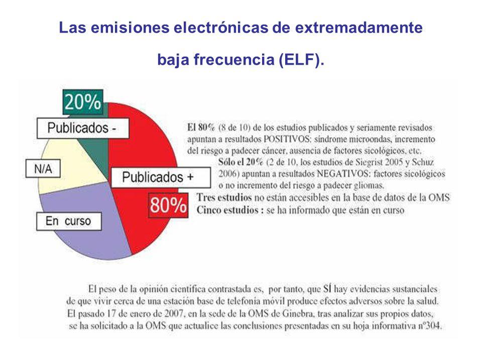 Las emisiones electrónicas de extremadamente baja frecuencia (ELF).
