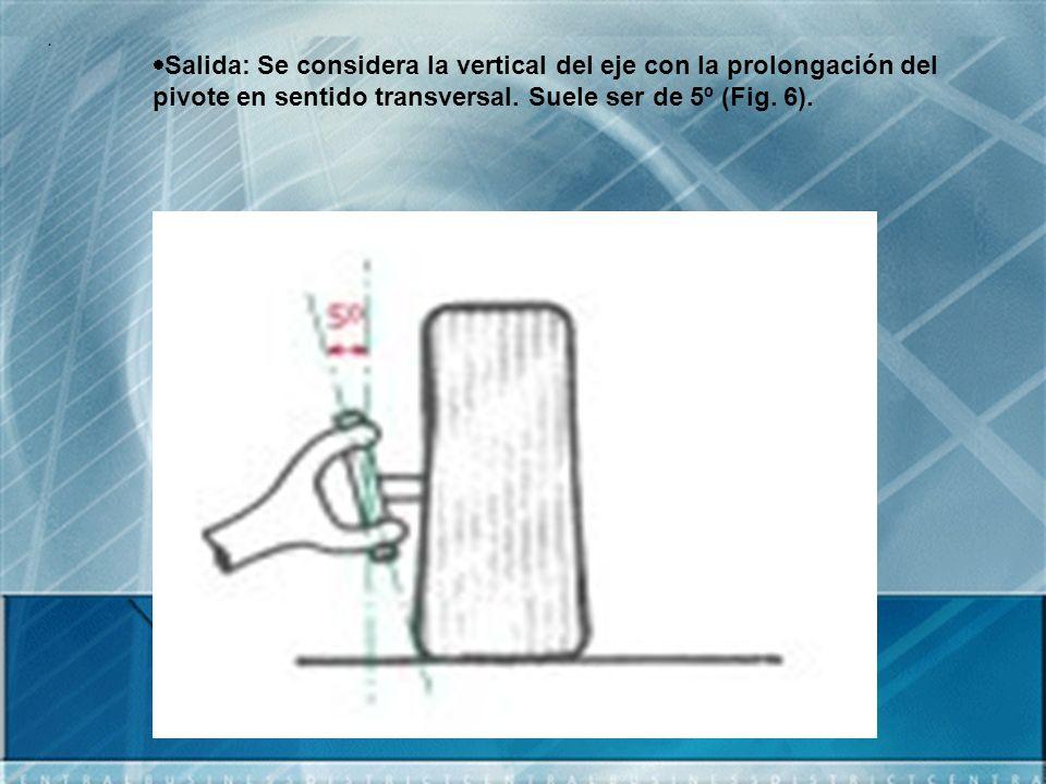 . Salida: Se considera la vertical del eje con la prolongación del pivote en sentido transversal. Suele ser de 5º (Fig. 6).