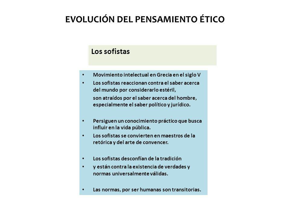 EVOLUCIÓN DEL PENSAMIENTO ÉTICO Los sofistas Movimiento intelectual en Grecia en el siglo V Los sofistas reaccionan contra el saber acerca del mundo p