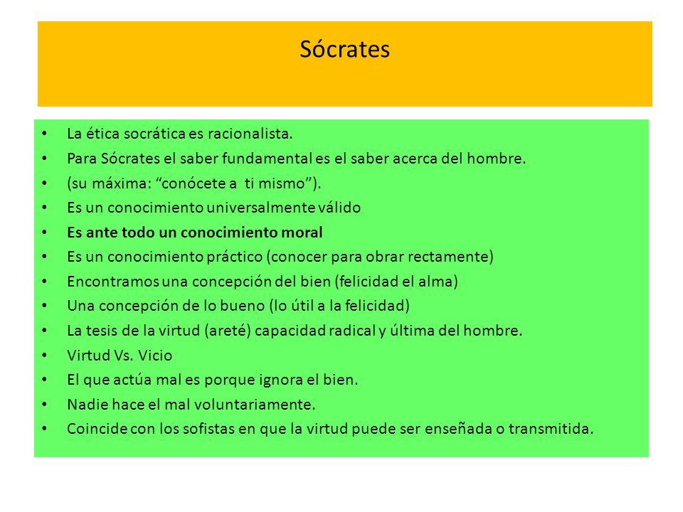 Sócrates La ética socrática es racionalista. Para Sócrates el saber fundamental es el saber acerca del hombre. (su máxima: conócete a ti mismo). Es un
