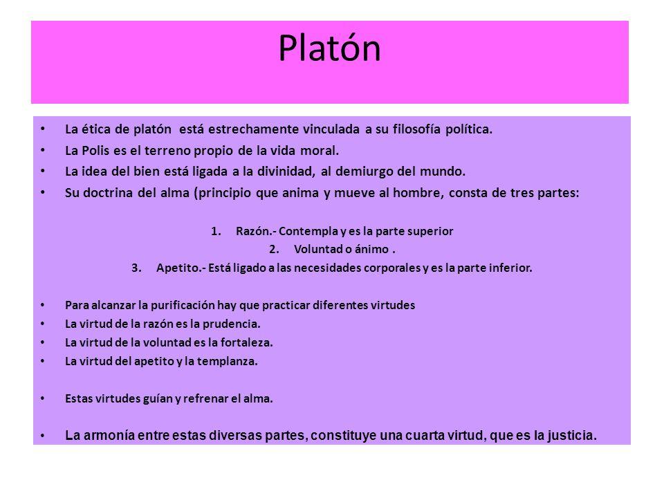 Platón La ética de platón está estrechamente vinculada a su filosofía política. La Polis es el terreno propio de la vida moral. La idea del bien está