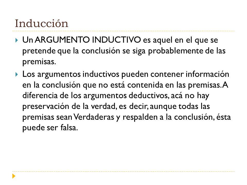 Inducción Un ARGUMENTO INDUCTIVO es aquel en el que se pretende que la conclusión se siga probablemente de las premisas. Los argumentos inductivos pue
