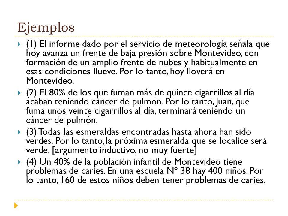 Ejemplos (1) El informe dado por el servicio de meteorología señala que hoy avanza un frente de baja presión sobre Montevideo, con formación de un amp
