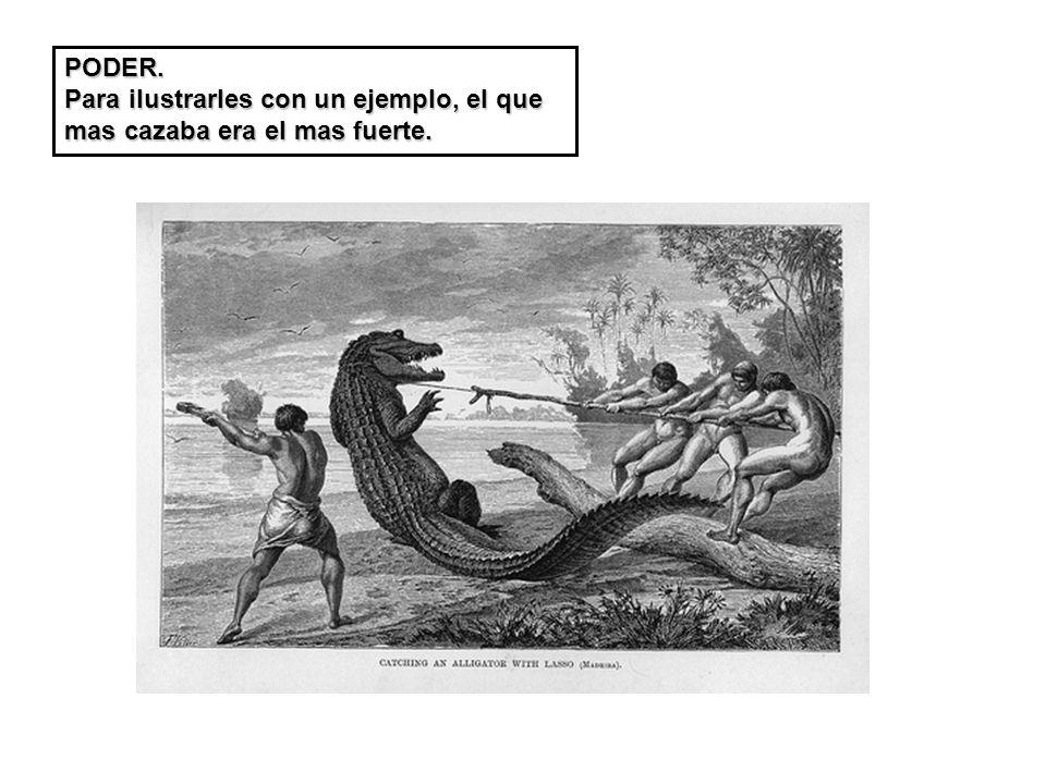 PODER. Para ilustrarles con un ejemplo, el que mas cazaba era el mas fuerte.