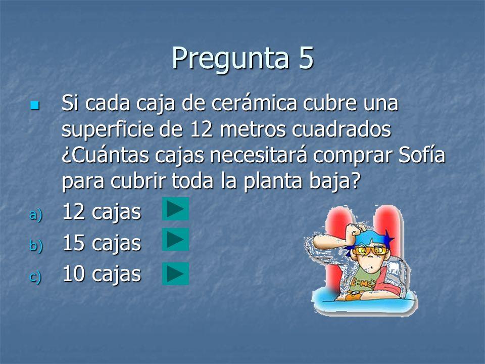 Pregunta 5 Si cada caja de cerámica cubre una superficie de 12 metros cuadrados ¿Cuántas cajas necesitará comprar Sofía para cubrir toda la planta baj