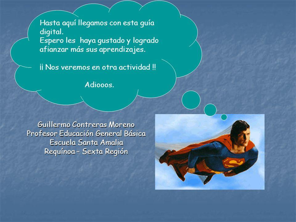 Guillermo Contreras Moreno Profesor Educación General Básica Escuela Santa Amalia Requínoa – Sexta Región Hasta aquí llegamos con esta guía digital. E