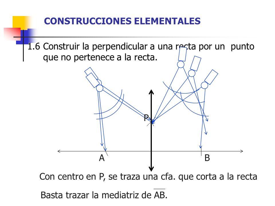 1.6 Construir la perpendicular a una recta por un punto xxxique no pertenece a la recta. BA Con centro en P, se traza una cfa. que corta a la recta en