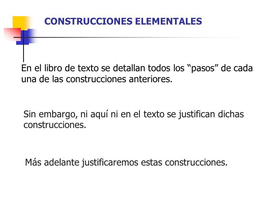 En el libro de texto se detallan todos los pasos de cada una de las construcciones anteriores. Sin embargo, ni aquí ni en el texto se justifican dicha