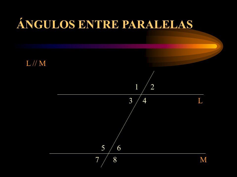 12 3 7 65 4 8 L M L // M ÁNGULOS ENTRE PARALELAS