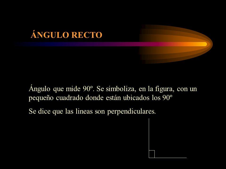 ÁNGULO RECTO Ángulo que mide 90º. Se simboliza, en la figura, con un pequeño cuadrado donde están ubicados los 90º Se dice que las lineas son perpendi