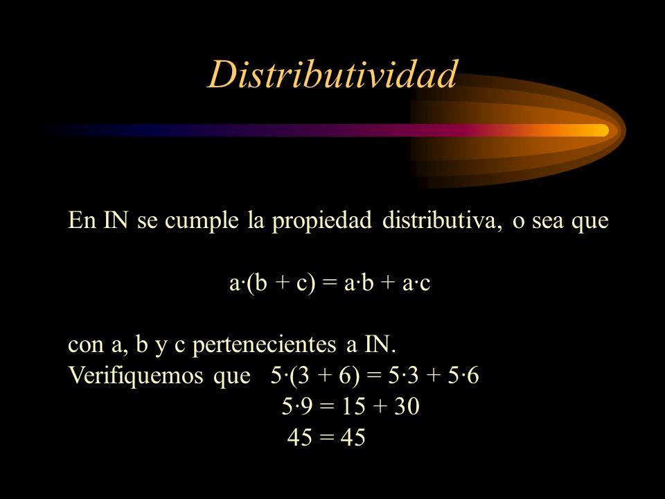Distributividad En IN se cumple la propiedad distributiva, o sea que a·(b + c) = a·b + a·c con a, b y c pertenecientes a IN. Verifiquemos que 5·(3 + 6