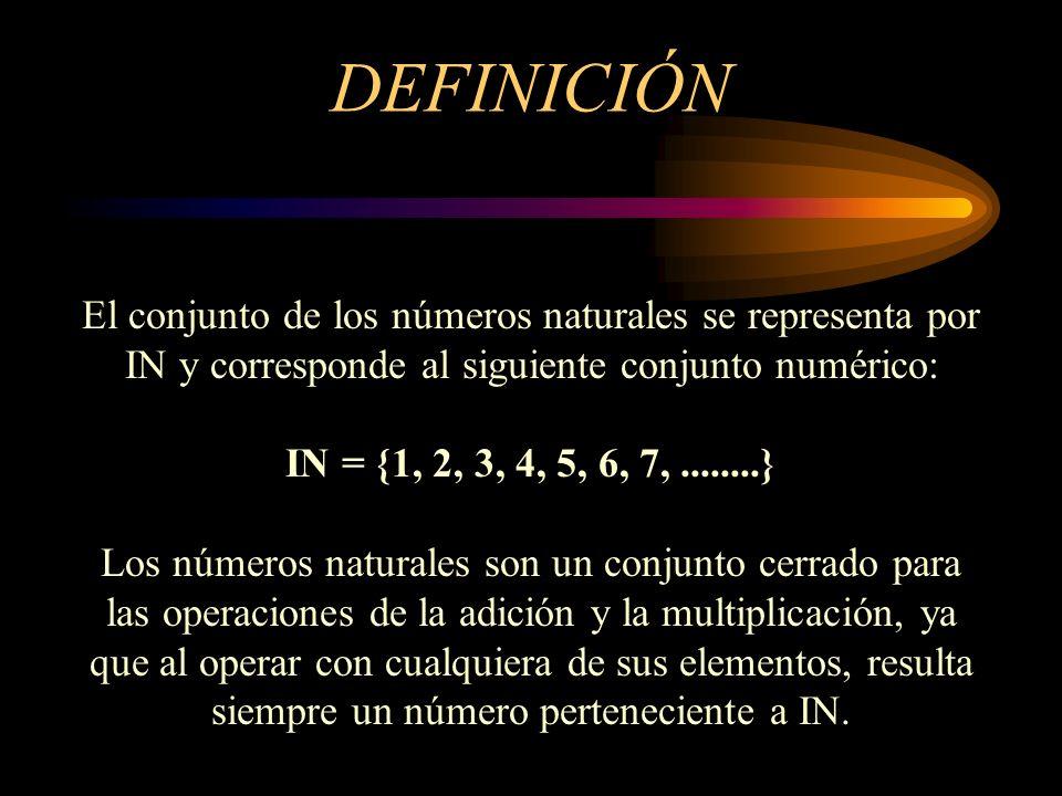 DEFINICIÓN El conjunto de los números naturales se representa por IN y corresponde al siguiente conjunto numérico: IN = {1, 2, 3, 4, 5, 6, 7,........}