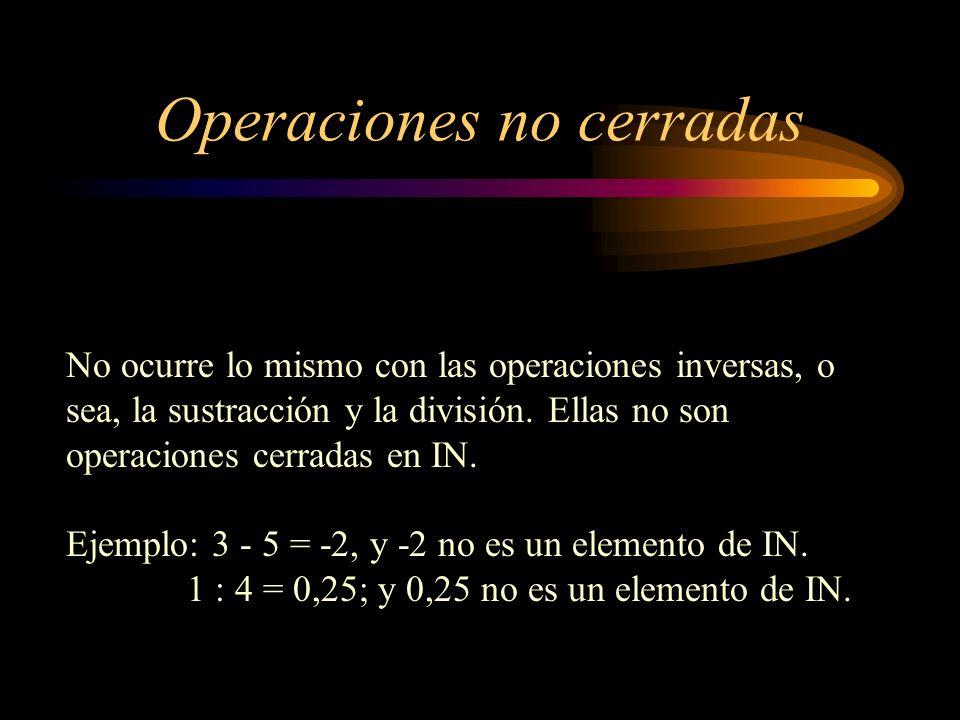 Operaciones no cerradas No ocurre lo mismo con las operaciones inversas, o sea, la sustracción y la división. Ellas no son operaciones cerradas en IN.