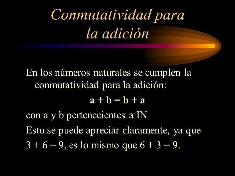 Conmutatividad para la adición En los números naturales se cumplen la conmutatividad para la adición: a + b = b + a con a y b pertenecientes a IN Esto