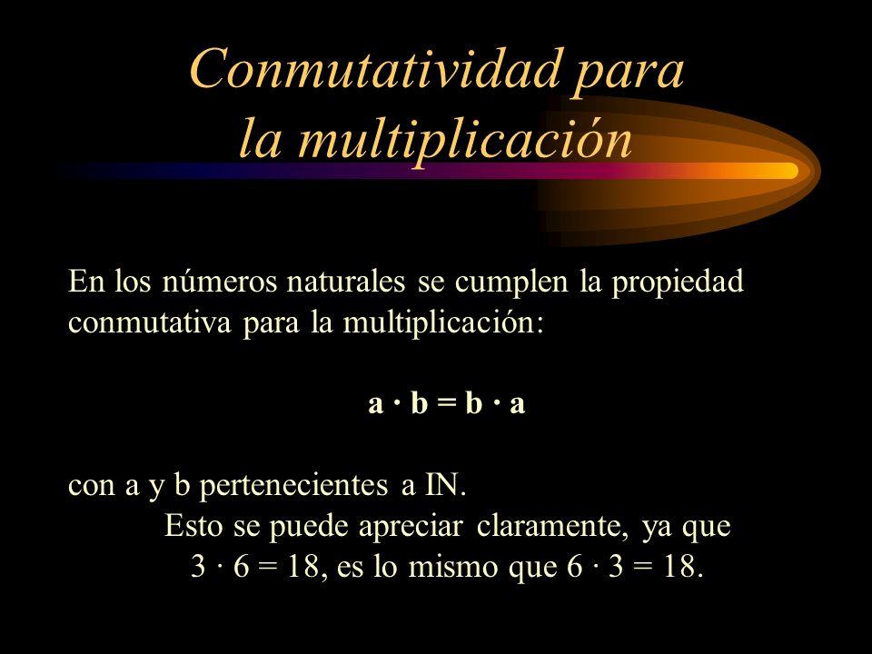 Conmutatividad para la multiplicación En los números naturales se cumplen la propiedad conmutativa para la multiplicación: a · b = b · a con a y b per