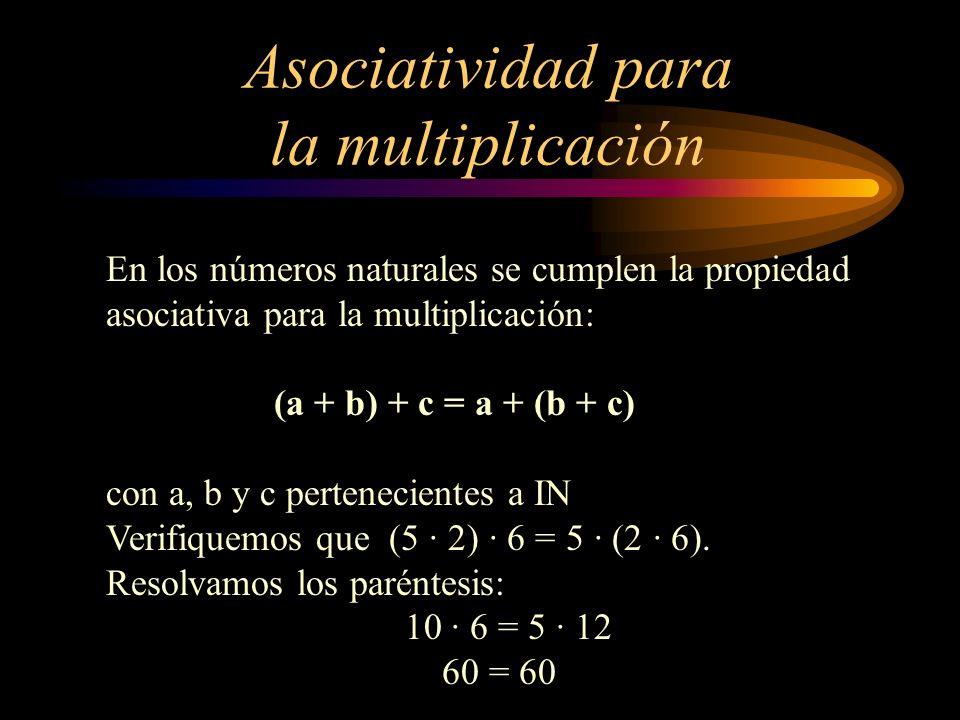 Asociatividad para la multiplicación En los números naturales se cumplen la propiedad asociativa para la multiplicación: (a + b) + c = a + (b + c) con