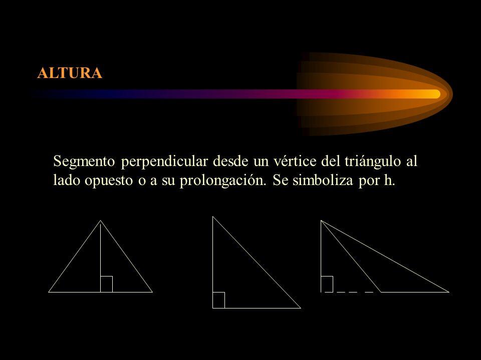 ALTURA Segmento perpendicular desde un vértice del triángulo al lado opuesto o a su prolongación. Se simboliza por h.