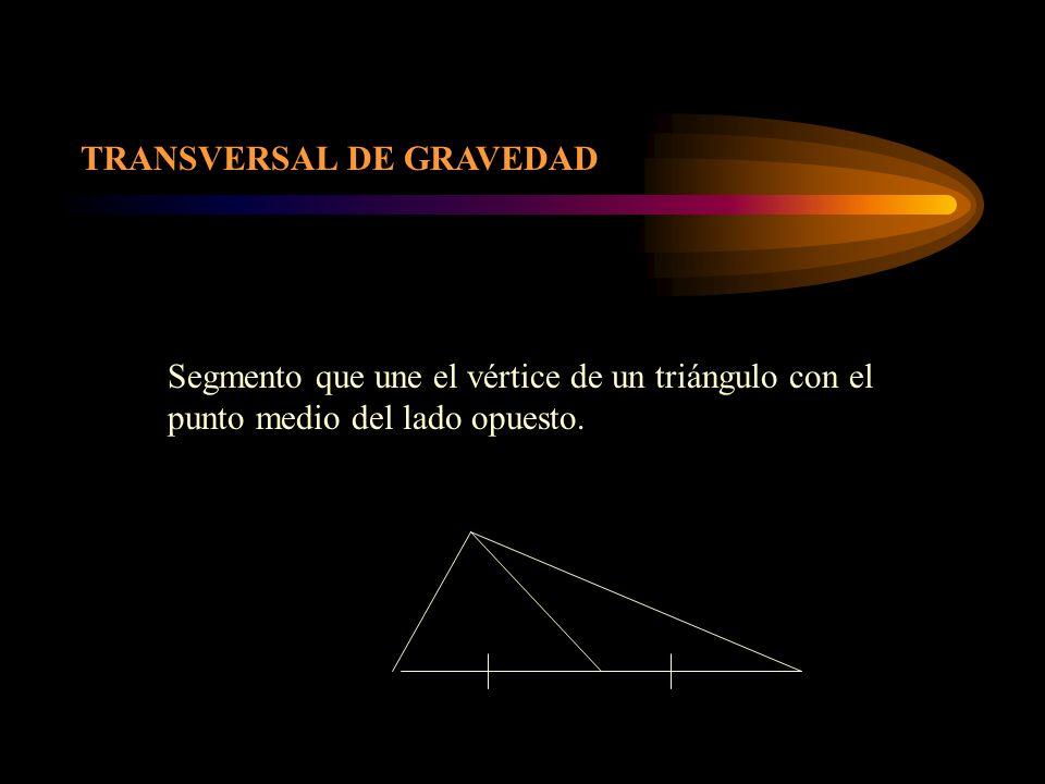 TRANSVERSAL DE GRAVEDAD Segmento que une el vértice de un triángulo con el punto medio del lado opuesto.