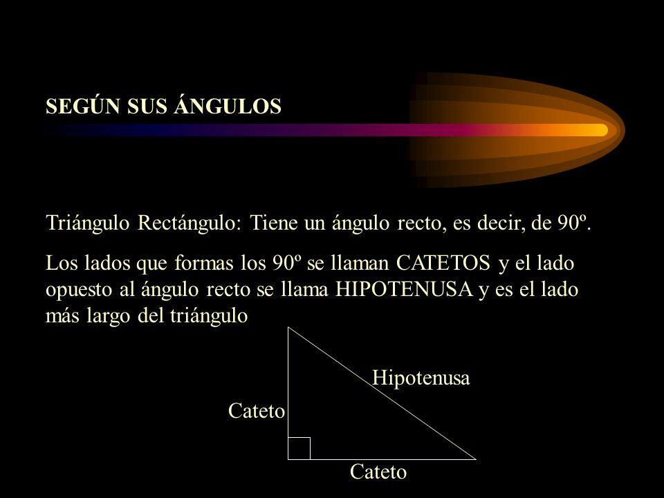 Triángulo Rectángulo: Tiene un ángulo recto, es decir, de 90º. Los lados que formas los 90º se llaman CATETOS y el lado opuesto al ángulo recto se lla