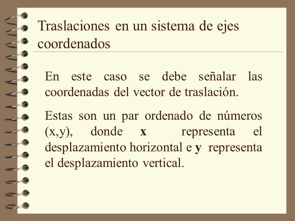 Traslaciones en un sistema de ejes coordenados En este caso se debe señalar las coordenadas del vector de traslación. Estas son un par ordenado de núm