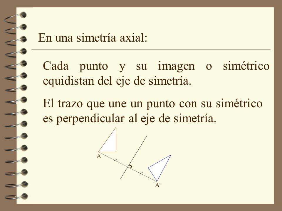 En una simetría axial: Cada punto y su imagen o simétrico equidistan del eje de simetría. El trazo que une un punto con su simétrico es perpendicular