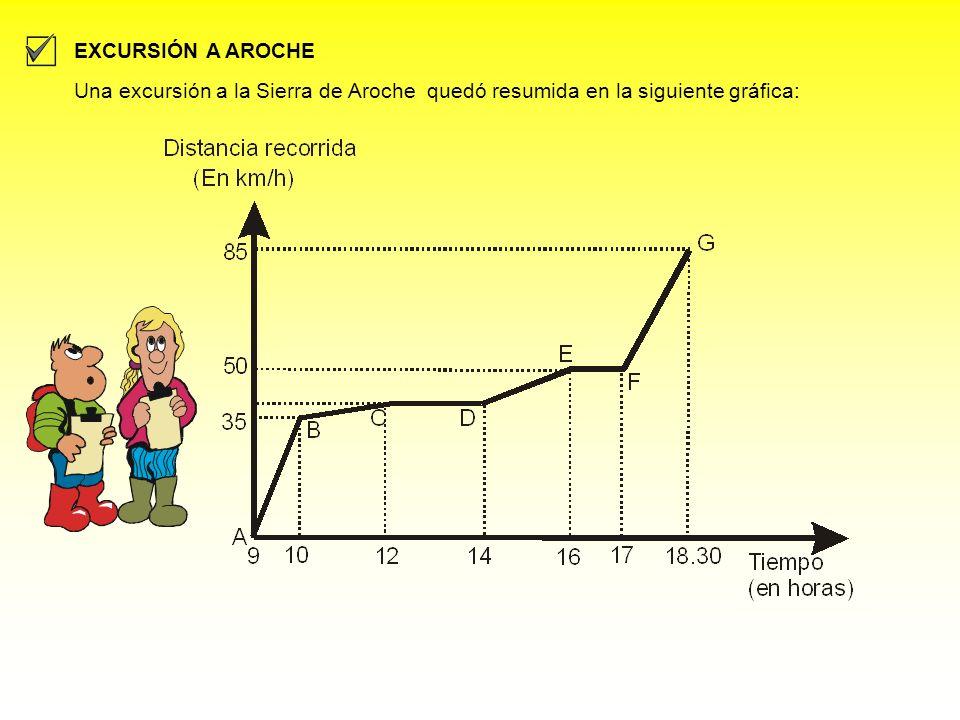 Una excursión a la Sierra de Aroche quedó resumida en la siguiente gráfica: EXCURSIÓN A AROCHE