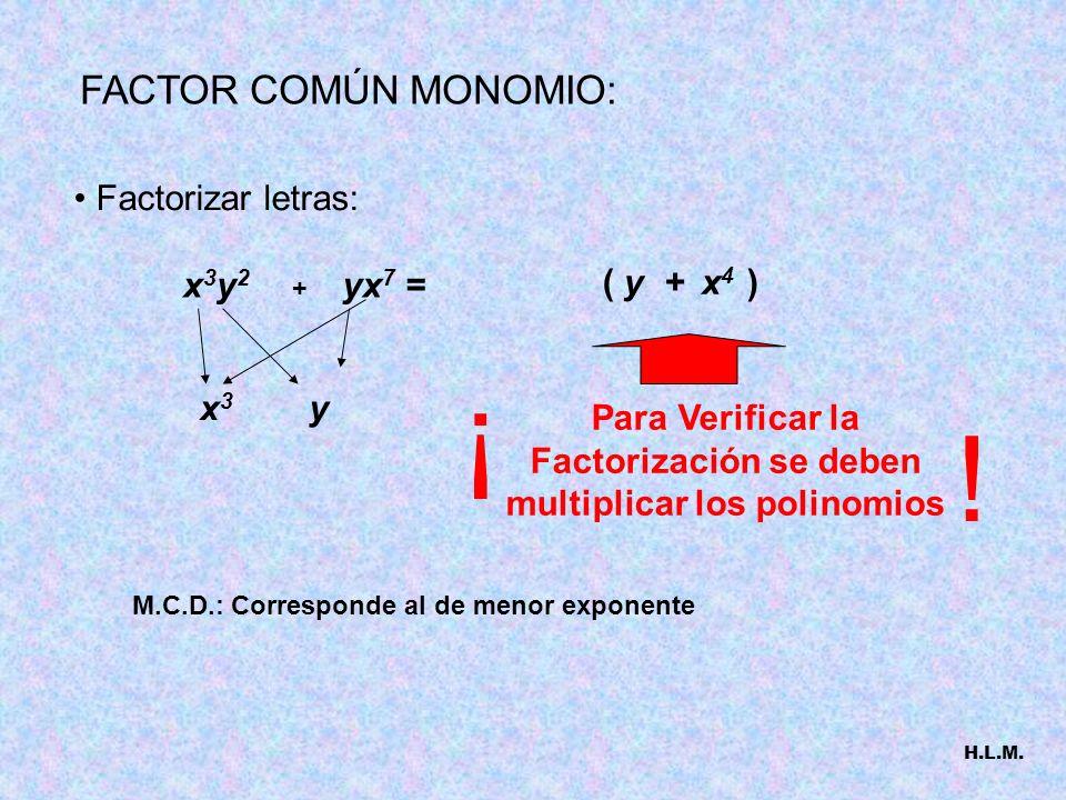 Factorizar letras: + yx 7 =x3y2x3y2 M.C.D.: Corresponde al de menor exponente ( y + x 4 ) FACTOR COMÚN MONOMIO: x3x3 y Para Verificar la Factorización