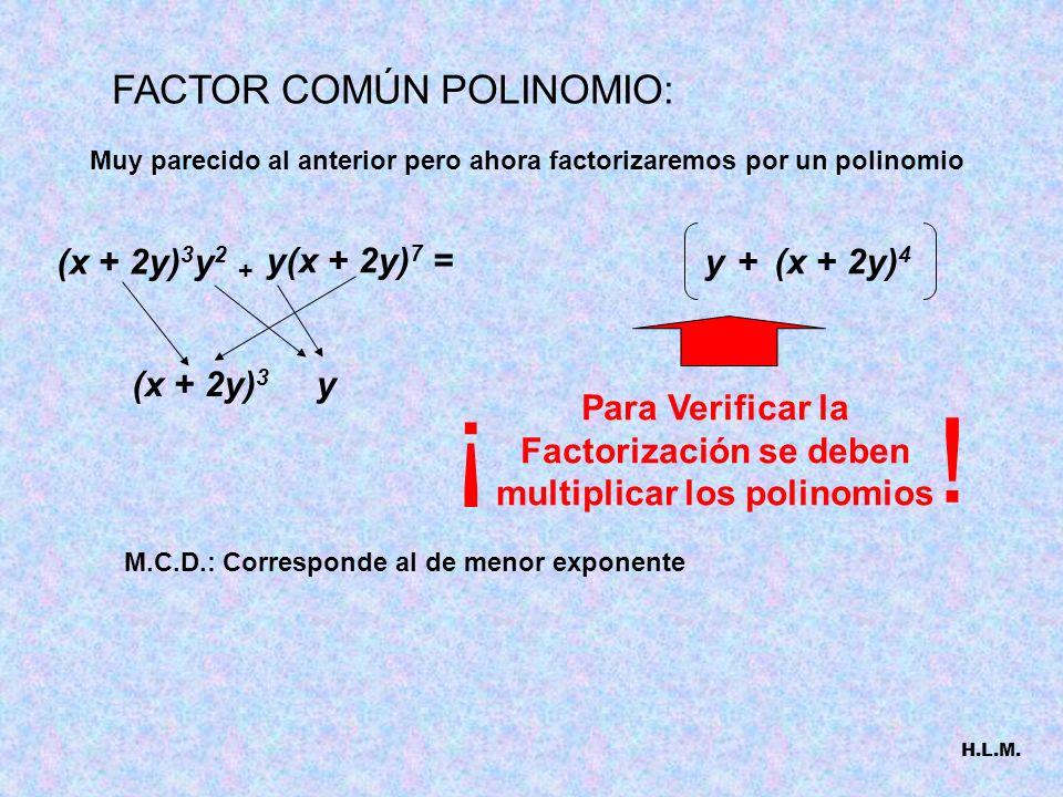 COMBINEMOS LO QUE HEMOS VISTO + 12x 3 a 7 = 18a 3 x 4 3x 2 + 4a 2 + 2xa 4 a3a3 x2x2 6 Ejemplo 1: 24a 5 x 2 + Otra Forma de entender lo mismo Un Número que divida a todos m.c.d De los términos sacamos a 3 También significa 182412aaaxxaxxaa a a a aaa a aa xxx x x El Más Grande De los términos sacamos x 2 Observa que la expresión del paréntesis no se puede seguir FACTORIZANDO H.L.M.