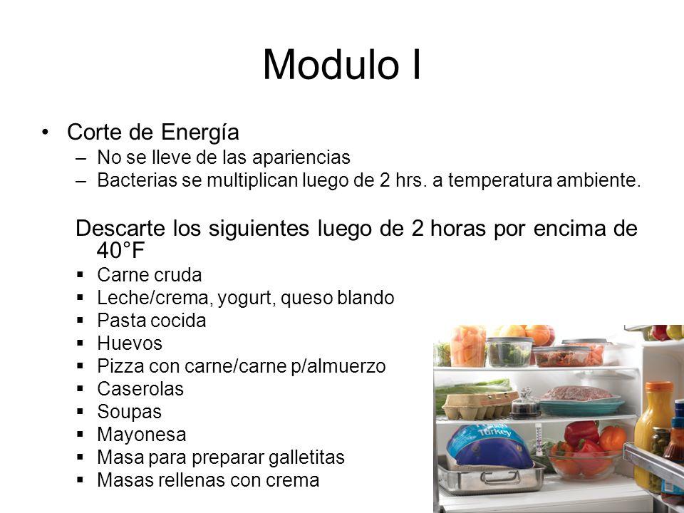 Modulo I Corte de Energía –No se lleve de las apariencias –Bacterias se multiplican luego de 2 hrs.