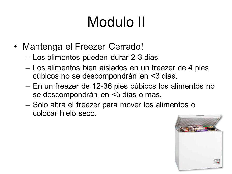 Modulo II Mantenga el Freezer Cerrado.