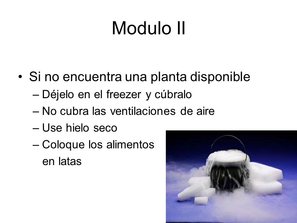 Modulo II Si no encuentra una planta disponible –Déjelo en el freezer y cúbralo –No cubra las ventilaciones de aire –Use hielo seco –Coloque los alimentos en latas