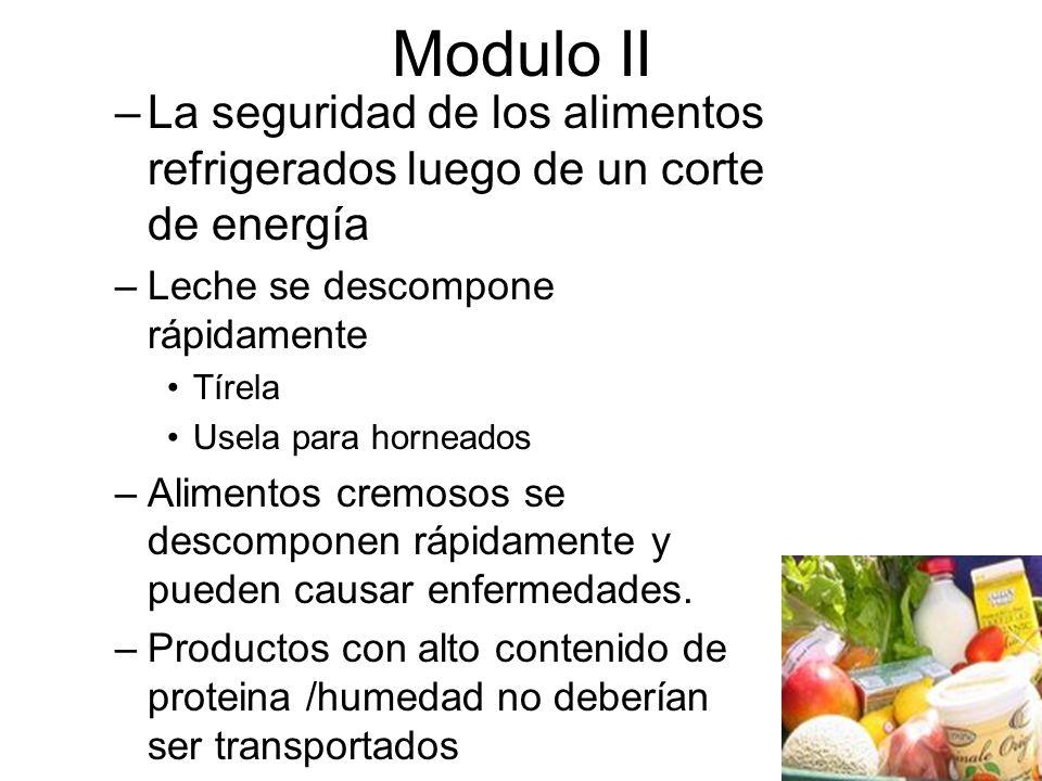 Modulo II –La seguridad de los alimentos refrigerados luego de un corte de energía –Leche se descompone rápidamente Tírela Usela para horneados –Alimentos cremosos se descomponen rápidamente y pueden causar enfermedades.