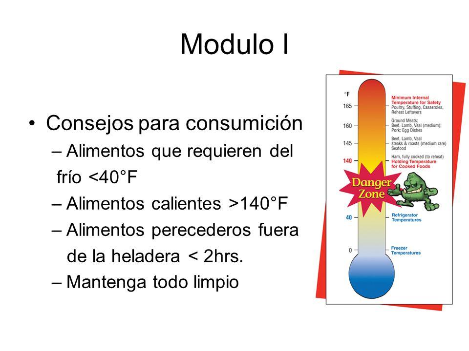 Modulo I Consejos para consumición –Alimentos que requieren del frío <40°F –Alimentos calientes >140°F –Alimentos perecederos fuera de la heladera < 2hrs.