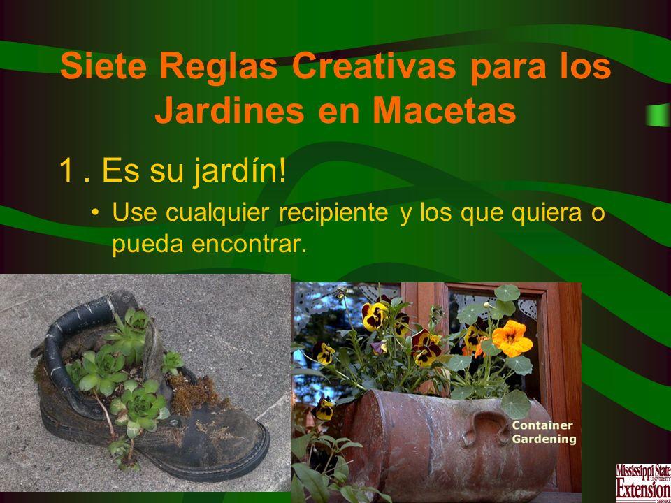 Siete Reglas Creativas para los Jardines en Macetas 1. Es su jardín! Use cualquier recipiente y los que quiera o pueda encontrar.