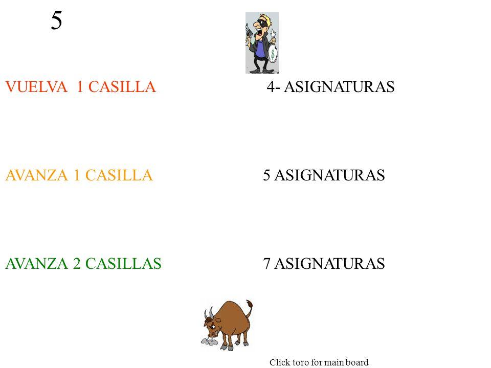 5 VUELVA 1 CASILLA AVANZA 1 CASILLA AVANZA 2 CASILLAS 4- ASIGNATURAS 5 ASIGNATURAS 7 ASIGNATURAS Click toro for main board