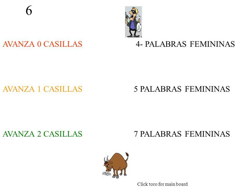 6 AVANZA 0 CASILLAS AVANZA 1 CASILLAS AVANZA 2 CASILLAS 4- PALABRAS FEMININAS 5 PALABRAS FEMININAS 7 PALABRAS FEMININAS Click toro for main board