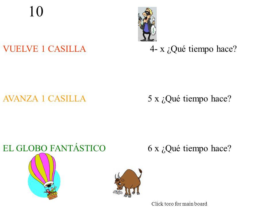 10 VUELVE 1 CASILLA AVANZA 1 CASILLA EL GLOBO FANTÁSTICO 4- x ¿Qué tiempo hace.