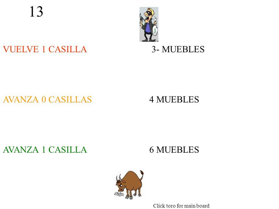 13 VUELVE 1 CASILLA AVANZA 0 CASILLAS AVANZA 1 CASILLA 3- MUEBLES 4 MUEBLES 6 MUEBLES Click toro for main board