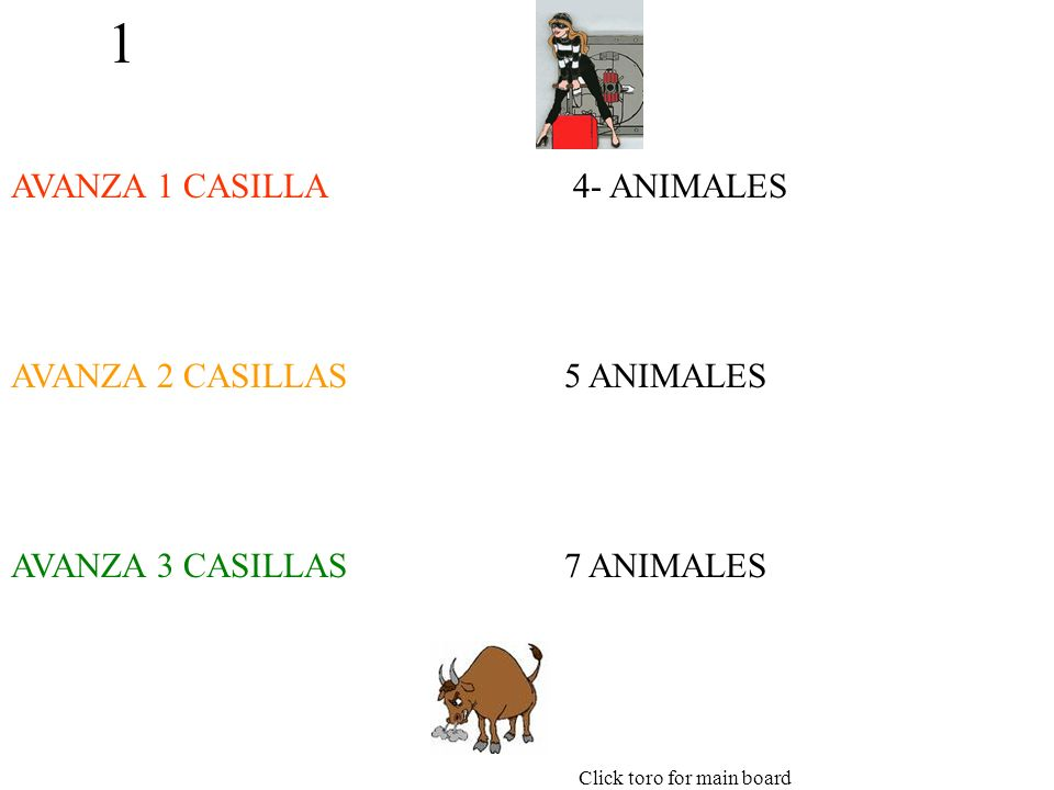 1 AVANZA 1 CASILLA AVANZA 2 CASILLAS AVANZA 3 CASILLAS 4- ANIMALES 5 ANIMALES 7 ANIMALES Click toro for main board