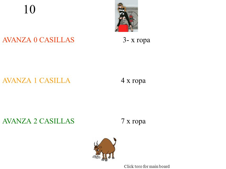 10 AVANZA 0 CASILLAS AVANZA 1 CASILLA AVANZA 2 CASILLAS 3- x ropa 4 x ropa 7 x ropa Click toro for main board