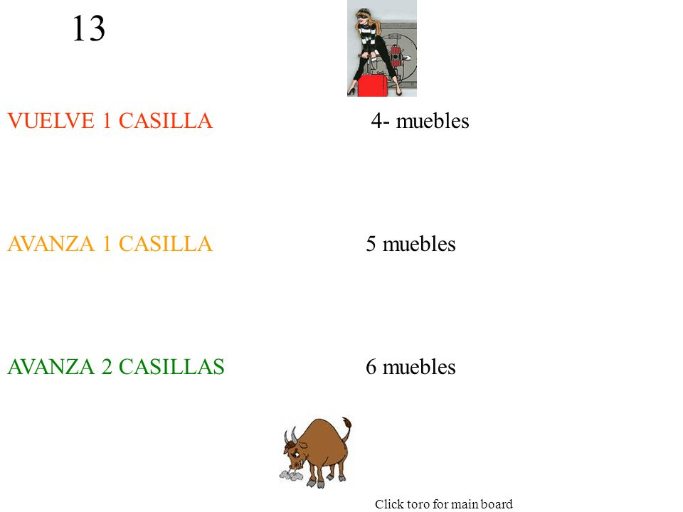 13 VUELVE 1 CASILLA AVANZA 1 CASILLA AVANZA 2 CASILLAS 4- muebles 5 muebles 6 muebles Click toro for main board
