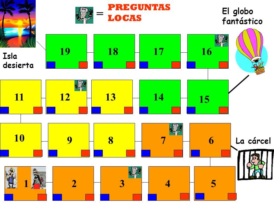 La cárcel El globo fantástico Isla desierta 12345 6789 10 11121314 15 16171819 PREGUNTAS LOCAS =