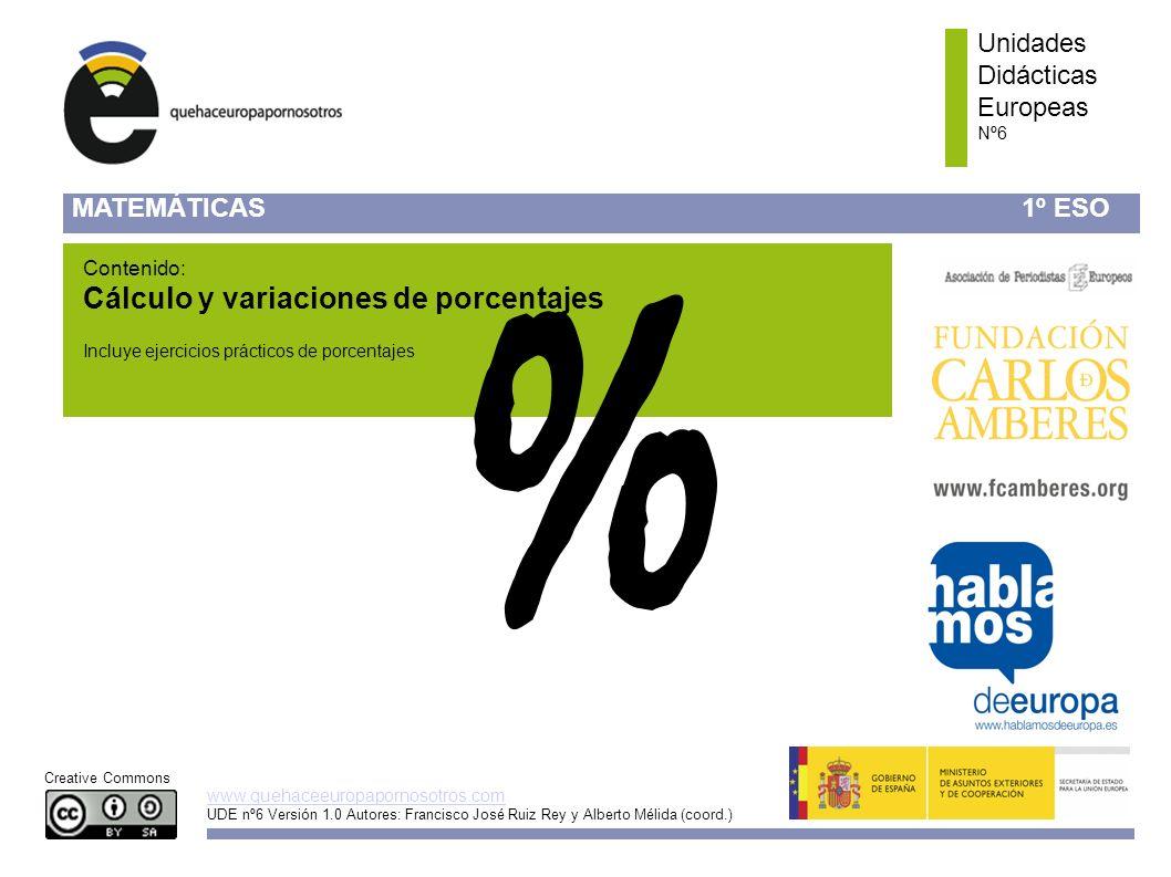 www.quehaceeuropapornosotros.com Unidades Didácticas Europeas Nº6 ¿Qué es un porcentaje.
