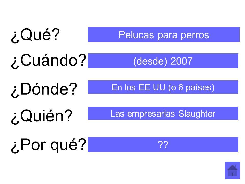 ¿Qué? ¿Cuándo? ¿Dónde? ¿Quién? ¿Por qué? Pelucas para perros (desde) 2007 En los EE UU (o 6 países) Las empresarias Slaughter ??